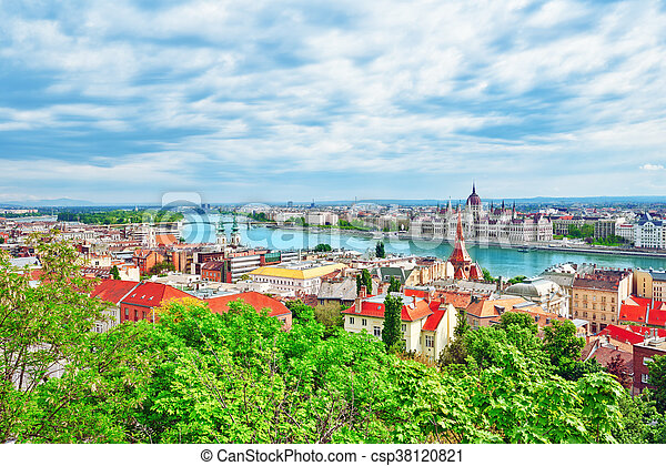 Panorama View on Budapest city from Fisherman Bastion. Hungary. - csp38120821
