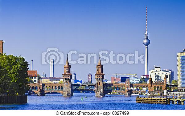 panorama with oberbaumbruecke in berlin - csp10027499