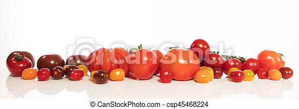 panorama with various tomatoes - csp45468224