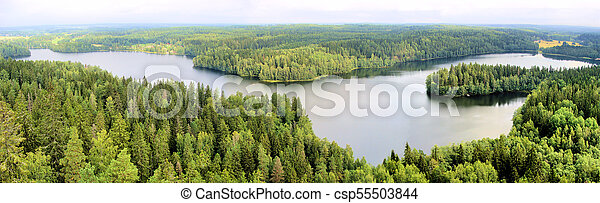 Panoramic aerial view of a lake among the forests of Finland - csp55503844