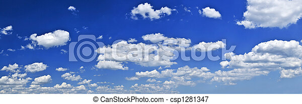 Panoramic blue sky with white clouds - csp1281347