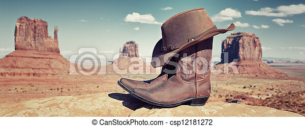 panoramic boots and hat  - csp12181272
