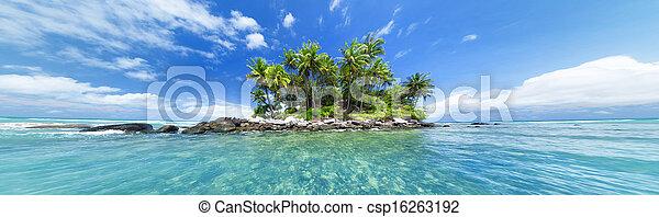 Panoramic image of tropical island. Web site or blog photo header or banner design for travel, tourism, sea or tropical nature theme. - csp16263192
