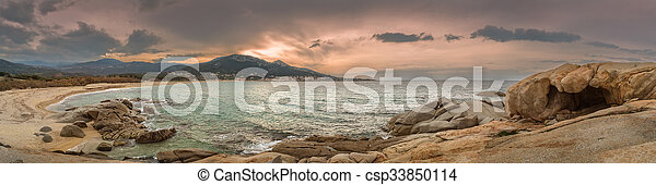 Panoramic of Algajola beach in Corsica - csp33850114
