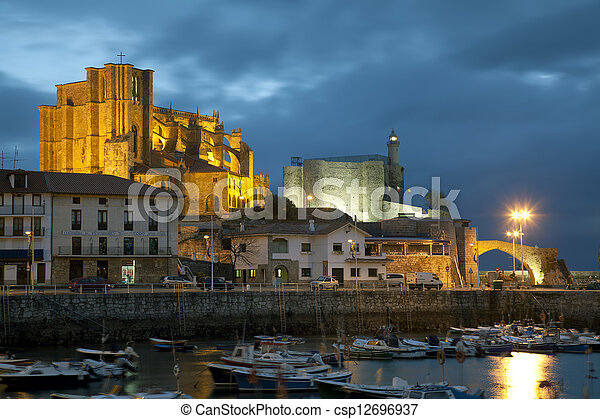 Panoramic of Castro Urdiales, Cantabria, Spain - csp12696937