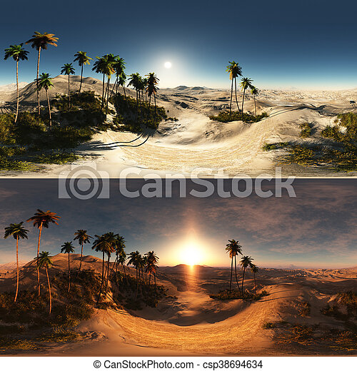 panoramic of palms in desert. made with the One 360 degree lense camera without any seams. ready for virtual reality - csp38694634