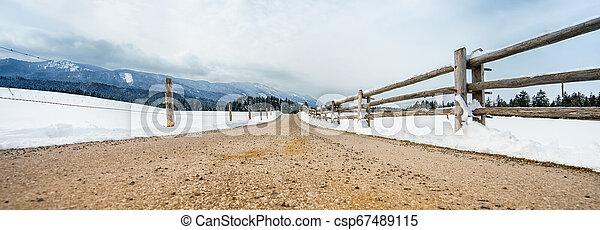 Panoramic shot of endless Bavarian road - csp67489115