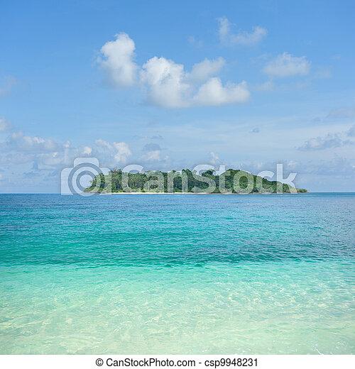 Panoramic tropical beach  - csp9948231