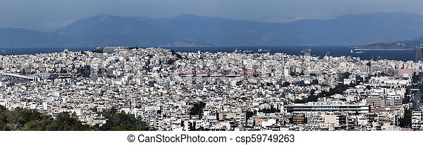 Panoramic view from the Acropolis of Athens - csp59749263