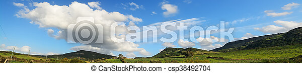 panoramic view of a green landscape - csp38492704