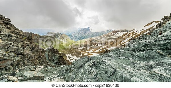 Panoramic view of a mountain valley from a ridge - csp21630430