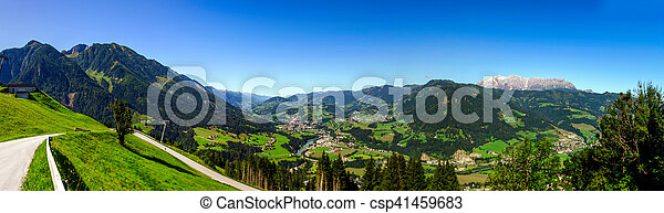 Panoramic view of alpine landscape, summer - csp41459683