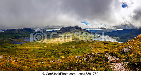 Panoramic view of beautiful lakes and clouds in Inverpolly area, Scotland, United Kingdom - csp15891760