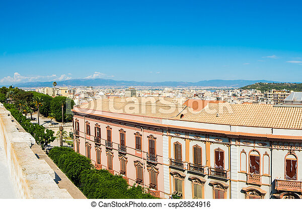 Panoramic view of Cagliari on a clear day - csp28824916