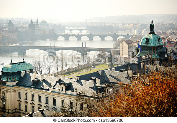 Panoramic view of Charles bridge on Vltava, Prague - csp13596706