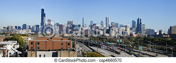 Panoramic view of Chicago from the south - csp4660570