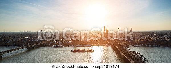 panoramic view of cologne city at dusk - csp31019174