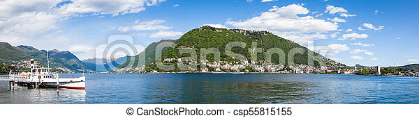 Panoramic view of Como city and lake near Milan in Italy - csp55815155