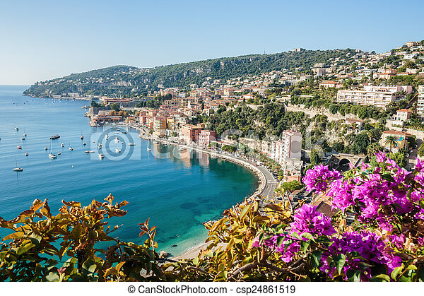 Panoramic view of Cote d'Azur near the town of Villefranche-sur- - csp24861519