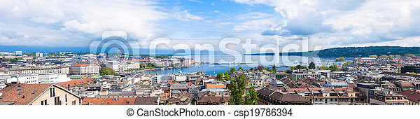 Panoramic view of Geneva water fountain from the Saint-Pierre cathedral - Switzerland - csp19786394