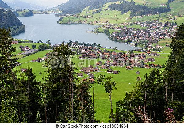Panoramic view of Grindelwald Village, Switzerland - csp18084964