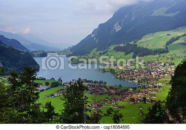 Panoramic view of Grindelwald Village, Switzerland - csp18084895
