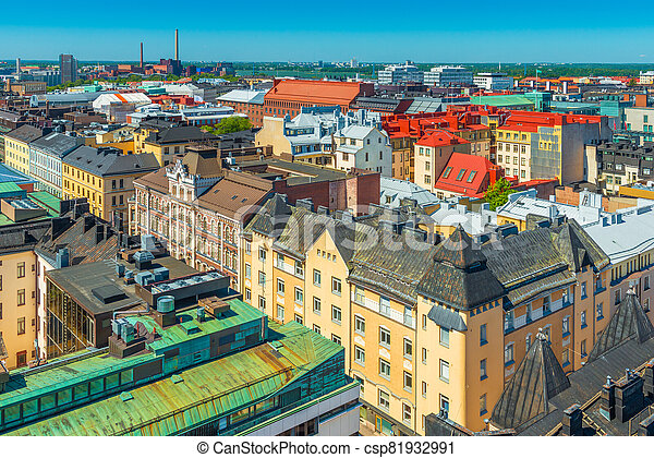 Panoramic view of Helsinki old city center. - csp81932991