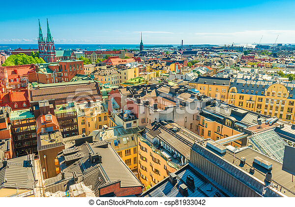Panoramic view of Helsinki on a sunny, summer day, Finland - csp81933042
