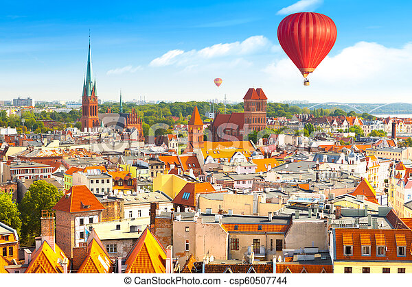 Panoramic view of historical buildings and roofs in Polish medieval town Torun - csp60507744