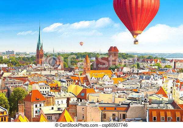Panoramic view of historical buildings and roofs in Polish medieval town Torun - csp60507746