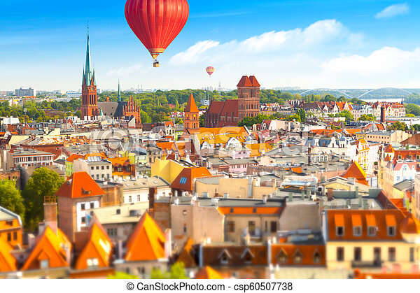 Panoramic view of historical buildings and roofs in Polish medieval town Torun - csp60507738