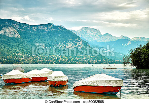 Panoramic view of Lake Annecy in France - csp50052568