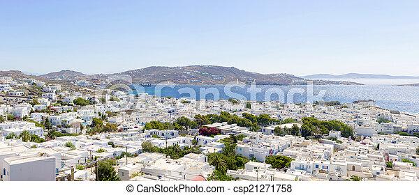 panoramic view of Mykonos town - csp21271758
