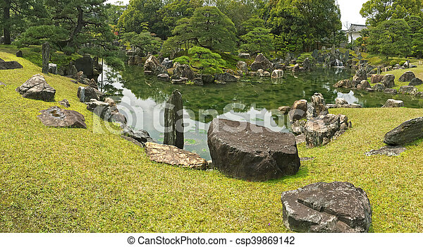 Panoramic View Of Ninomaru Garden With Ornamental Stones In A Large Pond, Japan