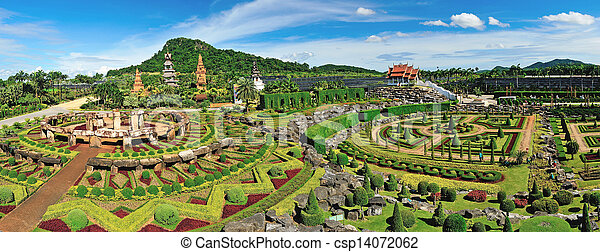 panoramic view of Nong Nooch Garden in Pattaya, Thailand - csp14072062