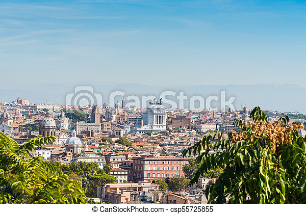 Panoramic view of Rome on a sunny day - csp55725855