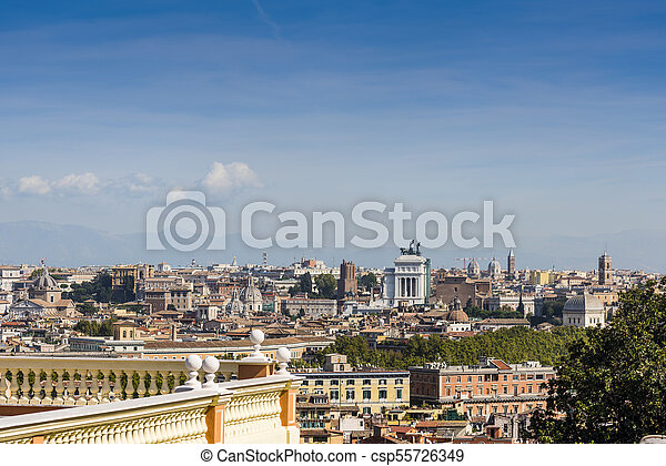 Panoramic view of Rome on a sunny day - csp55726349