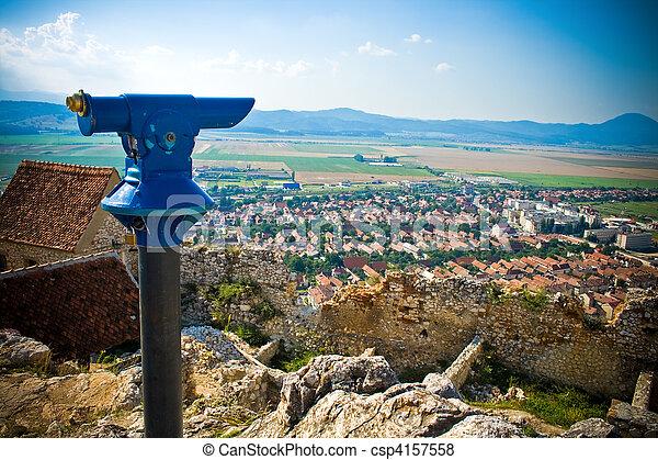 Panoramic view of rural romanian town - csp4157558