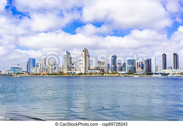 Panoramic View Of The Downtown San Diego Skyline California