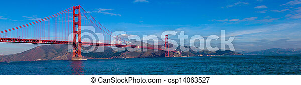 Panoramic View of the Golden Gate Bridge in San Francisco, California - csp14063527