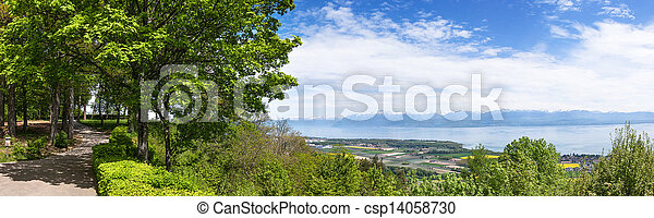 Panoramic view of the Leman Lake from Signal de Bougy park - csp14058730