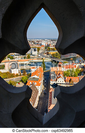panoramic view of the old city of Wroclaw in Poland, bird eye view of colorful roofs of old town - csp63492985