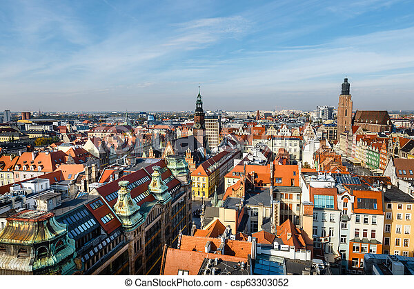 panoramic view of the old city of Wroclaw in Poland, bird eye view of colorful roofs of old town - csp63303052