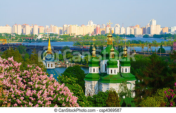 Panoramic view of the Vidubichi monastery, Kiev, Ukraine - csp4369587