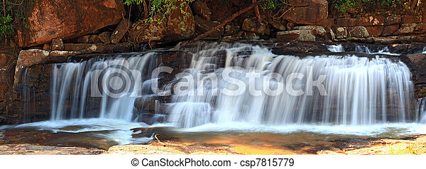 panoramic view of tropical Tadtone waterfall in rain forest in Chaiyaphum North east of Thaland - csp7815779