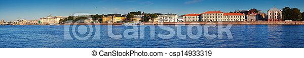 Panoramic view of Vasilyevsky Island in summer - csp14933319