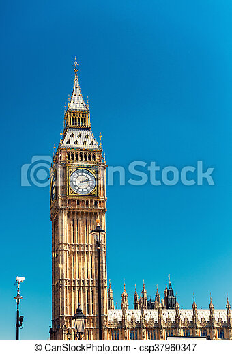Panoramic view of Westminster Palace, Houses of Parliament - London, UK - csp37960347