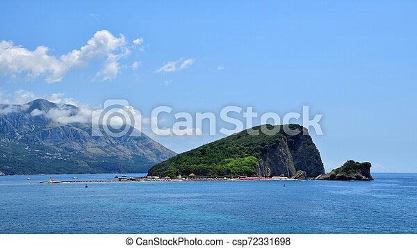 Panoramic view on island of St. Nicholas near Budva, Montenegro - csp72331698