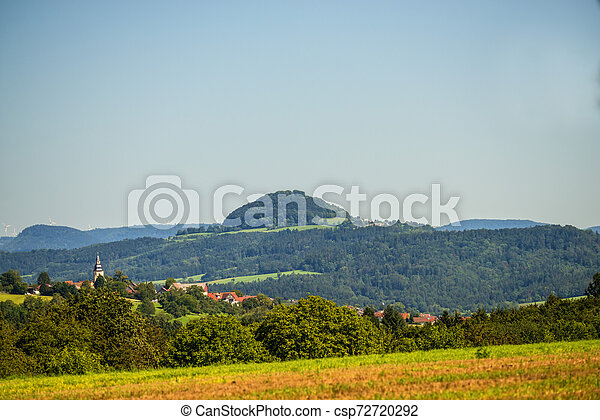 panoramic view to the hill Hohenstaufen in Germany - csp72720292