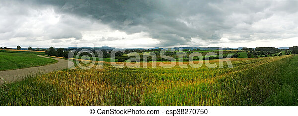 panoramic view to the Swabian highlands in Germany - csp38270750